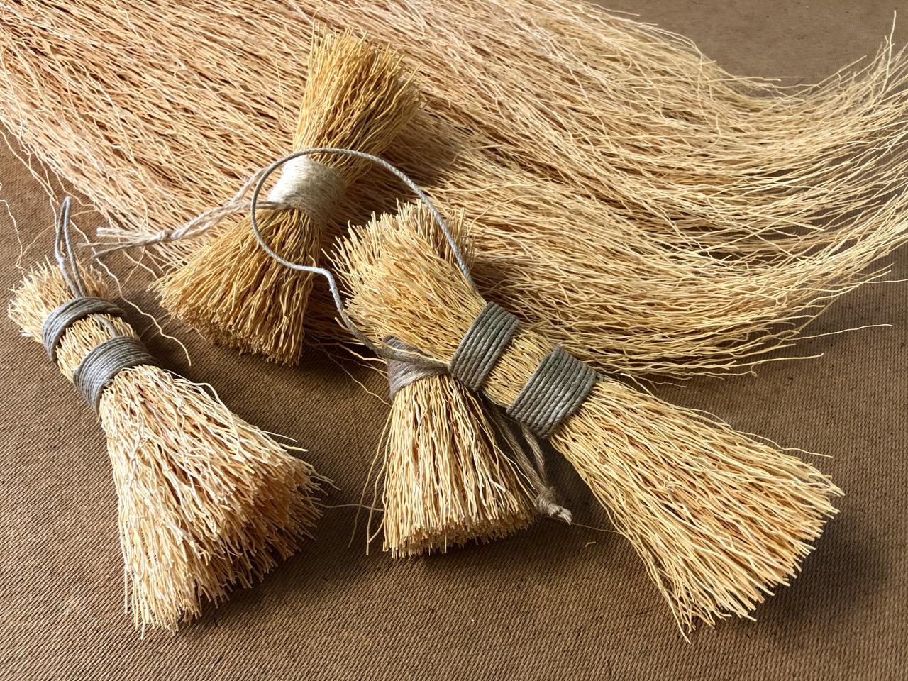 Riisinjuuresta valmistettuja patapesimiä, taustalla nippu riisinjuurikuitua.