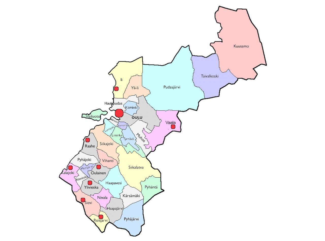 Maakuntakartta johon aktiiviset kerhot on merkitty pallukalla. Ii, Kalajoki, Oulainen, Oulu, Raahe, Reisjärvi, Sievi, Vaala, Ylivieska