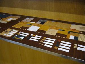 Kollaasimenetelmällä tehty kohokartta, jossa näkyy kerroksen eri tilat merkattuna eri materiaaleilla.
