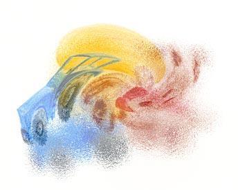 Sumea vesivärimaalaus, josta voi hahmottaa vääristyneen traktorin muodon ja muita värejä.