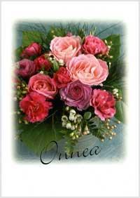 Onnitteluadressi, jossa ruusukimppu kannessa.