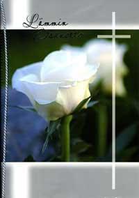 Suruadressi, jossa valkoinen ruusu ja risti kannessa.