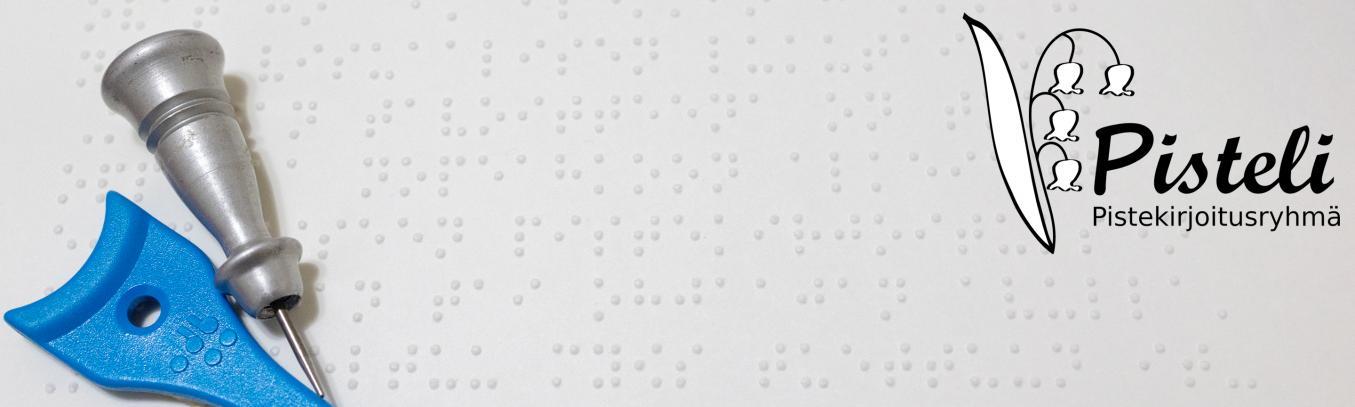 kuvassa pistekirjoitusta ja pisteli