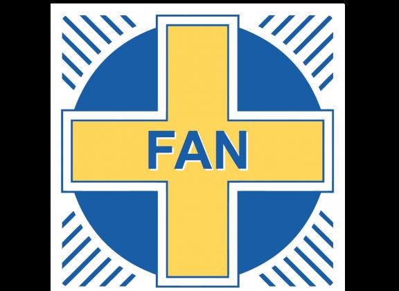 Fanin logo, keltainen risti sinisessä ympyrässä, keskellä teksti FAN