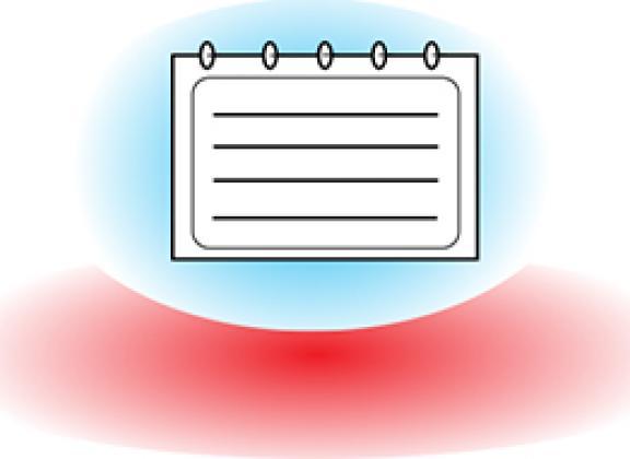 Valkoinen kalenterisivu vaaleansininen tausta punainen alaosa