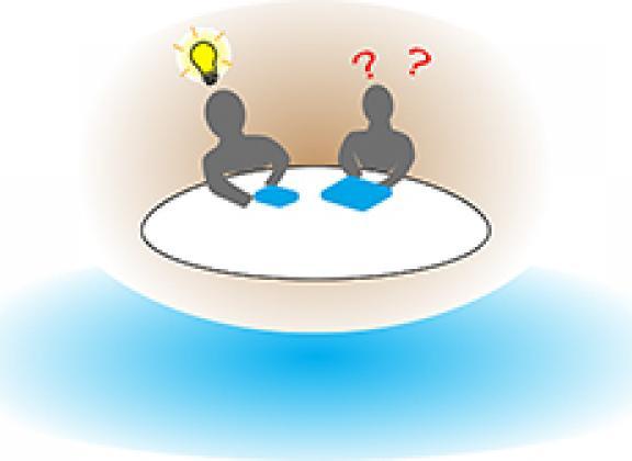 kaksi henkilö pöydän ääressä, ilmassa kysymysmerkkejä ja pään päällä syttyvä lamppu