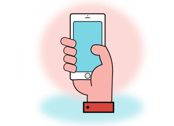 Piirroskuva kädestä, joka pitelee älypuhelinta.