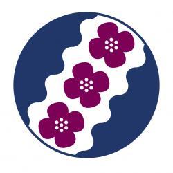 TSNV logo, jossa kolme purppuraa annansilmää ja Tammerkosken aallot