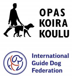 Opaskoirakoulun logo, jossa piirroskuva, jossa henkilö ja opaskoira valjaissa, sekä International Guide Dog Federationin logo, jossa piirroskuva koirasta valjaissa.