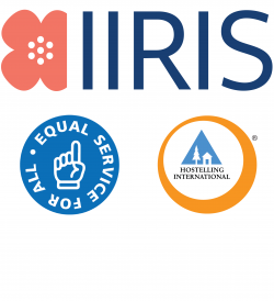 Logos of Iiris Center and Hostelling International och the symbol for Equal Services for All.